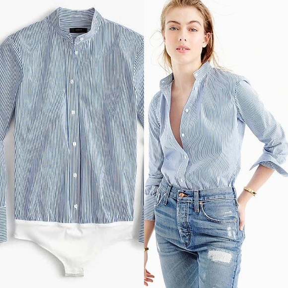e5bd1448d5bf J. Crew Tops | J Crew Stretch Striped Tailored Perfect Bodysuit ...